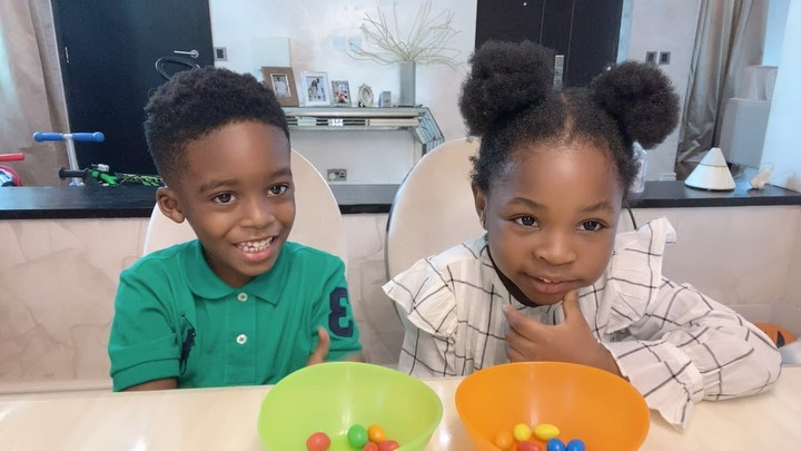 Tiwa Savage's Son Jamal And Davido's Daughter Imade Looking Cute And Adorable As They Join The #fruitsnackchallenge | Video