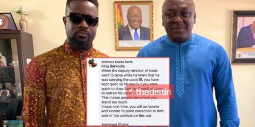 Netizen Blast Sarkodie For Keeping Quiet On Carlos Ahenkorah's Covid-19 Case And Being NPP Bias