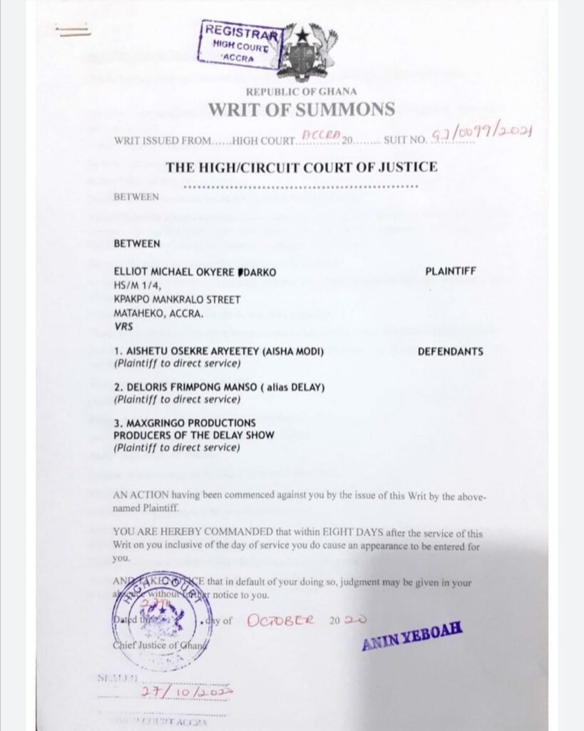 Veteran rapper, Michael Elliot Kwabena Okyere Darko known in the showbiz as Obrafour has taken a legal action against Aysiah Modi, Delay and the producers of The Delay Show for defamation for Ghc800,000, Ayisha Modi replies him and says she's ready to face him in court.
