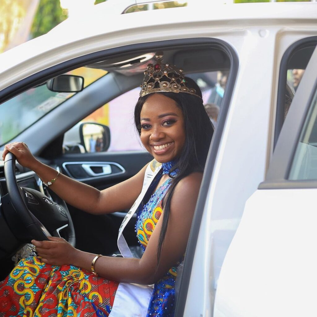 TV3's 2020 Ghana's Most Beautiful (GMB) Pageant winner, Naa Dedei Botchwey from Greater Accra Region has finally received her brand new SsangYong car.