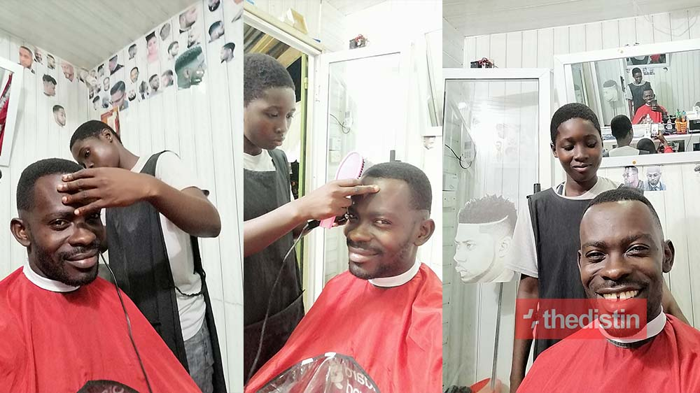 Photos Of A Free SHS Female Graduate Mansah Working As A Barber To Save Money For University Causes Stir On Social Media (Photos)