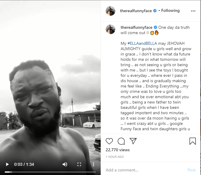 Ghanaian comedian, Funny Face aka Children President has vent out his anger on pastor, Maame Yeboah Asiedu for allegedly causing a break in home between funny face the mother of his twin daughters.