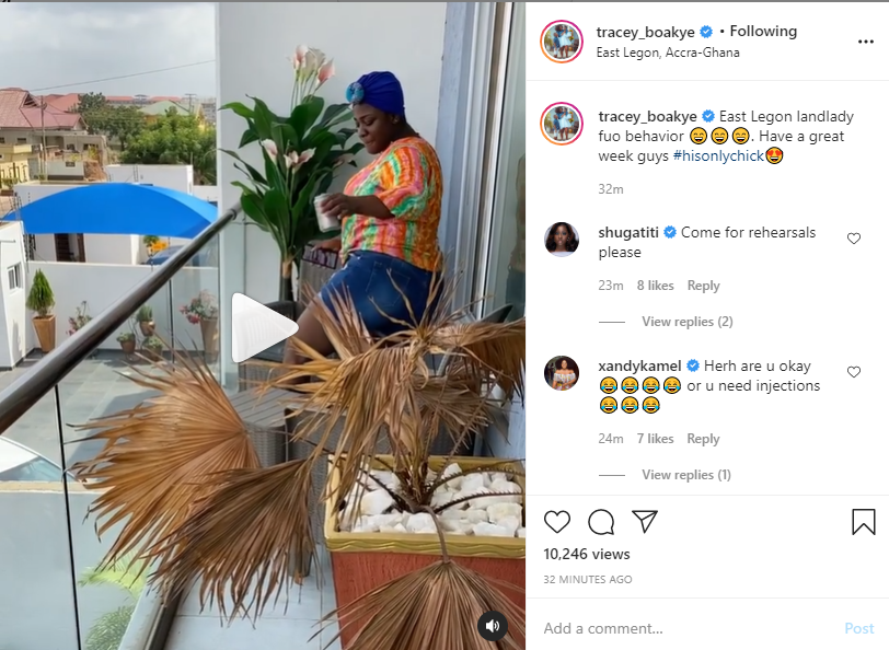 Controversial actress and producer, Tracey Boakye shows off her twerking skills as she praises herself for owing a house at East Legon.
