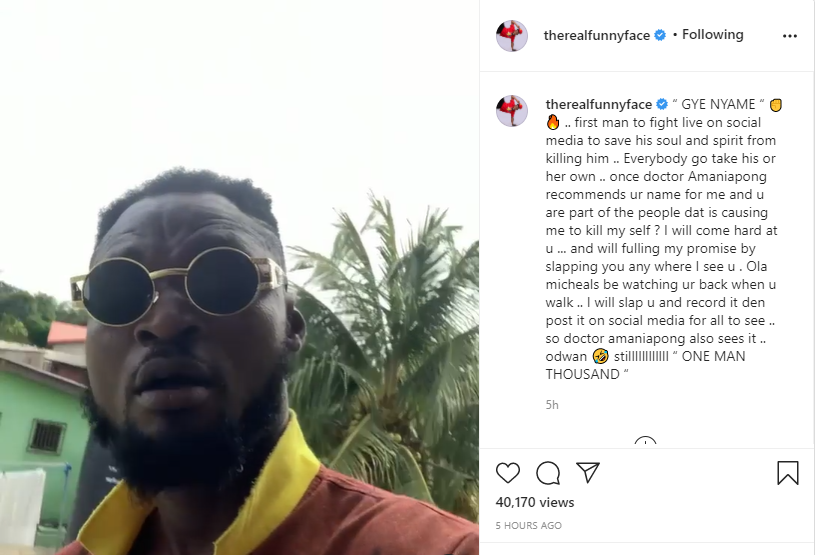 Funny Face sends his anger on Neat Fm presenter, Ola Michael for discussing his issue with his baby mama on air and tagging him as a lair.