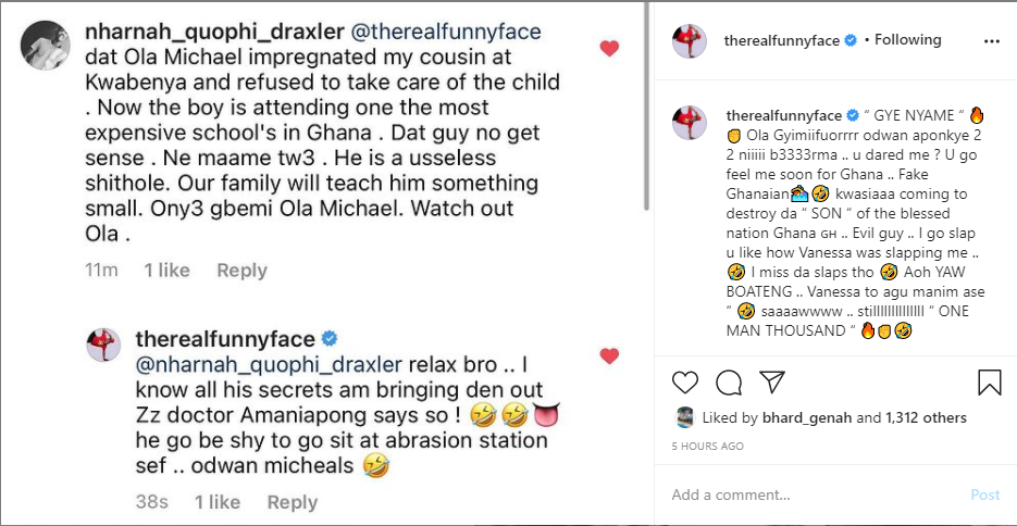 An Instagram user has exposed Neat Fm presenter, Ola Michael over failure to performs his duties as a father after he allegedly impregnated his cousin amid his wahala with Funny Face.