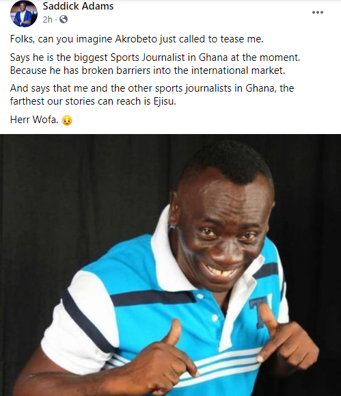 Actor and television host, Akwasi Boadi popularly called Akrobeto makes mockery of well known sports journalists in Ghana after he went viral internationally.