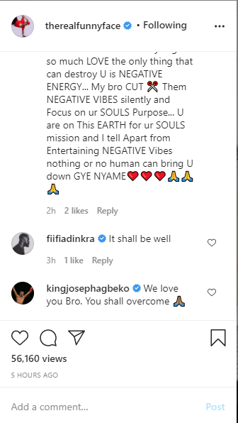 'I will die like terminator da movie' Funny Face shocks Ghanaians with Suicidal notes amid his estranged relationship with his baby mama, Ama Vanessa and all it's brouhahas, some Ghanaian celebrities reacts.