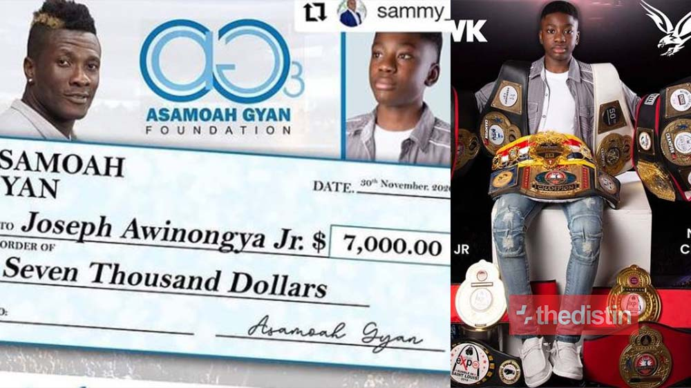 Asamoah Gyan Gifts 13-year-old Ghanaian Boxer Joseph Awinongya Jnr GHC40,000 Ahead Of His Fight In The US (Photo+ Videos)