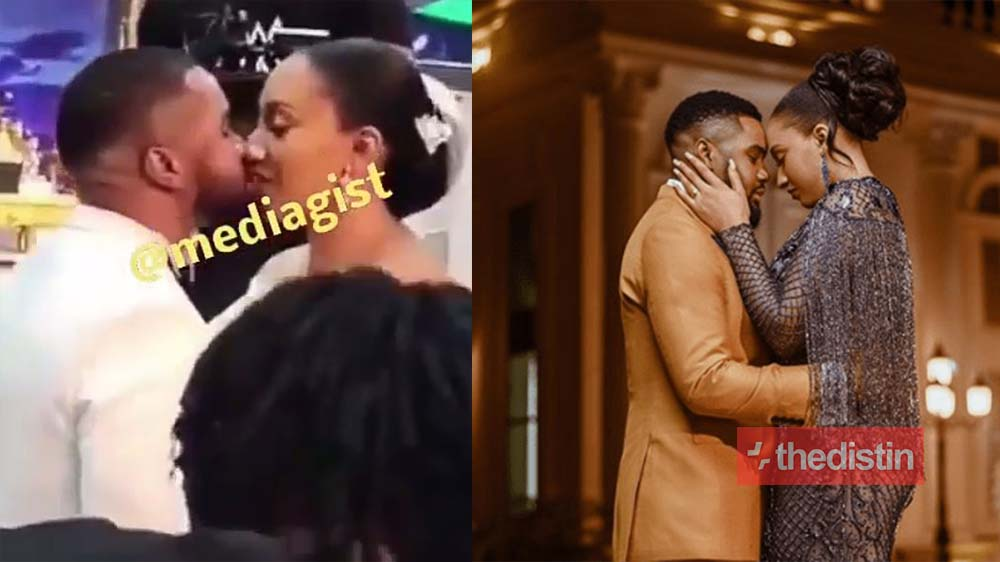 Love Is Sweet: Adorable Moment Nollywood Actor, William Uchemba Passionately Kisses His Wife As They Exchange Vows In Church (Video)