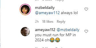 Mzbel snubs her leaked audio with Tracey Boakye fighting over Mahama as she celebrates the manager of her Belas pub.