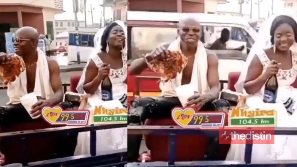See How These Newly Wedded Couple Are Chilling After Their White Wedding In A Tricycle (Video)
