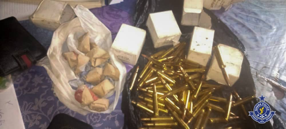 """The police at Worawora in the Oti Region have arrested two (2) suspects for allegedly buying suspected ammunitions and possession of """"Indian hemp"""" at Kwamekrom Abdulkordzi."""