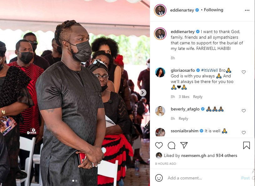 After the funeral of his wife, Eddie Nartey makes a bold statement and releases emotional images. 2