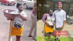 Mary Daniel: Lady Who Sells 'Bottled Water' On One Leg Gifted N1m From Nigerian Politician, Ugwumba Uche Nwosu (Photos)