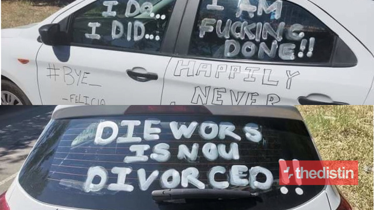 man writes on his car to announce his divorce