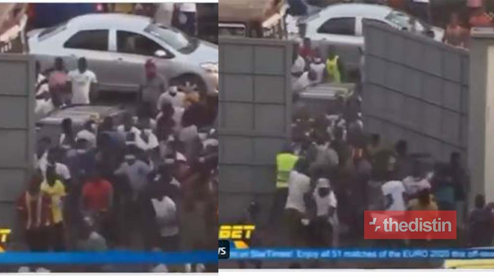 Watch The Moment Olympics And Hearts Of Oak Supporters Broke The Gate To Enter The Stadium (Video)