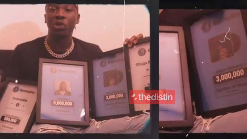 Stonebwoy Flaunts His Boomplay Plaques With 3-5 Million Streams After Kelvyn Boy Received His During The Week