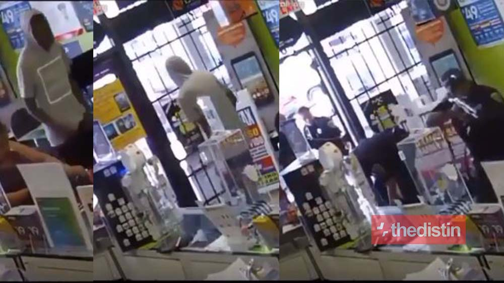 Robbery Gone Wrong: See How This Armed Robber Was Locked In A Super Market After Trying To Steal Their Money (Video)