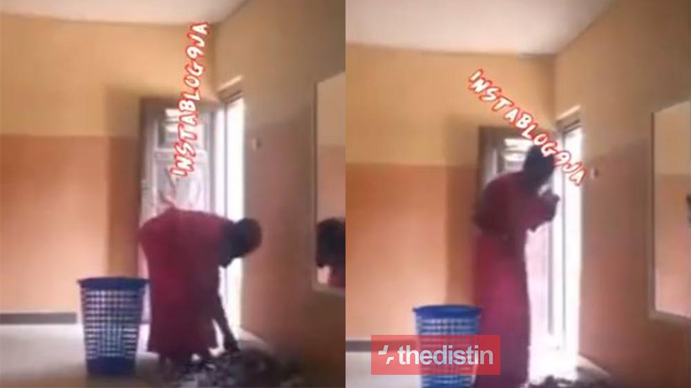 Lady Caught On Camera Stealing Church Offering, See How She Took Her Time To Select The Monies (Video)