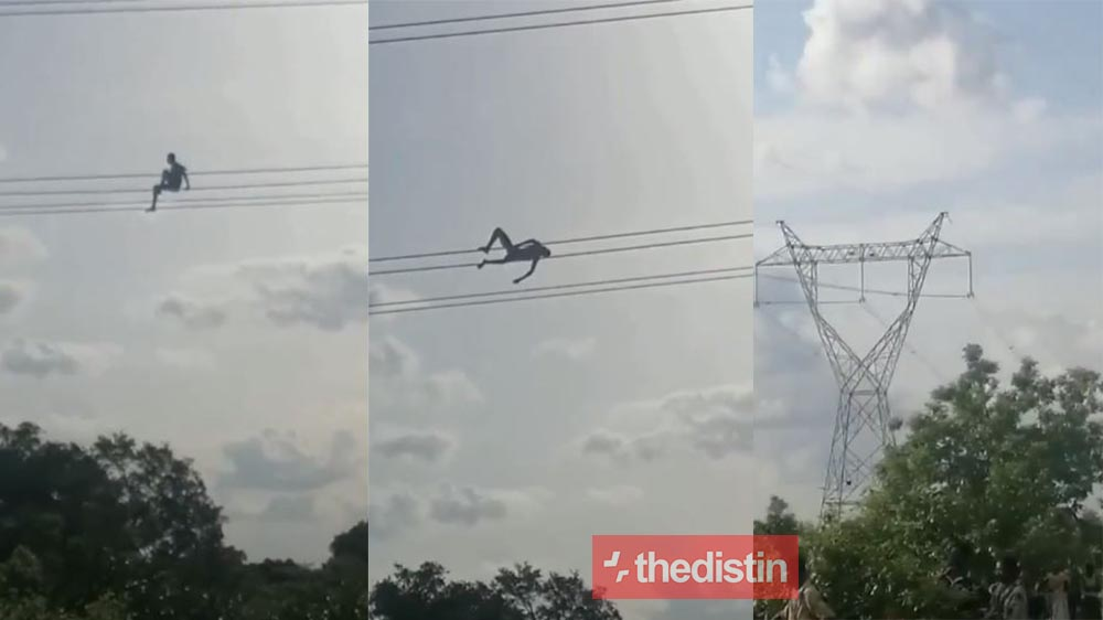 Video Of A Mad Man Playing On High Tension Cables Goes Viral, Ghanaians React